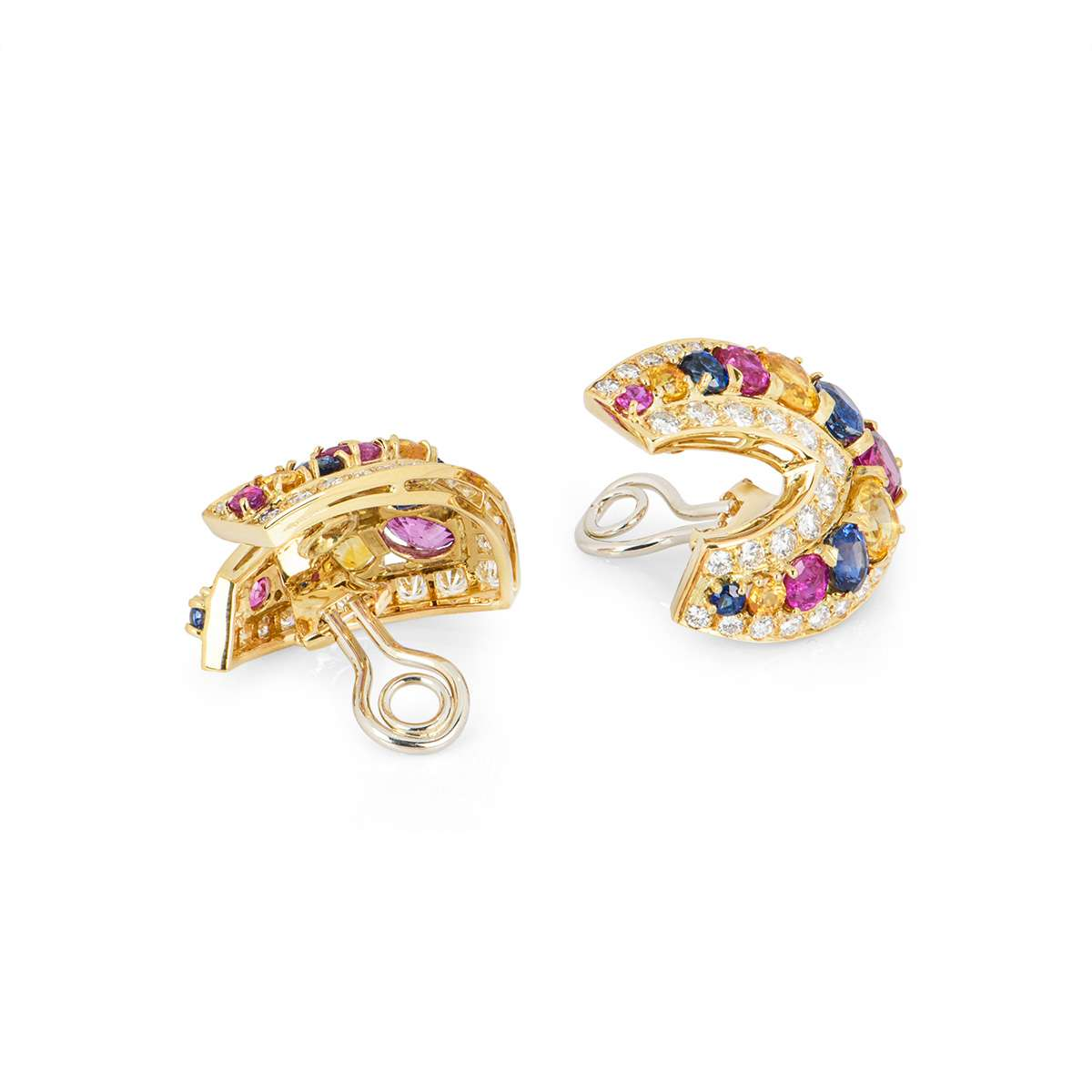 Yellow Gold Sapphire and Diamond Clip Earrings